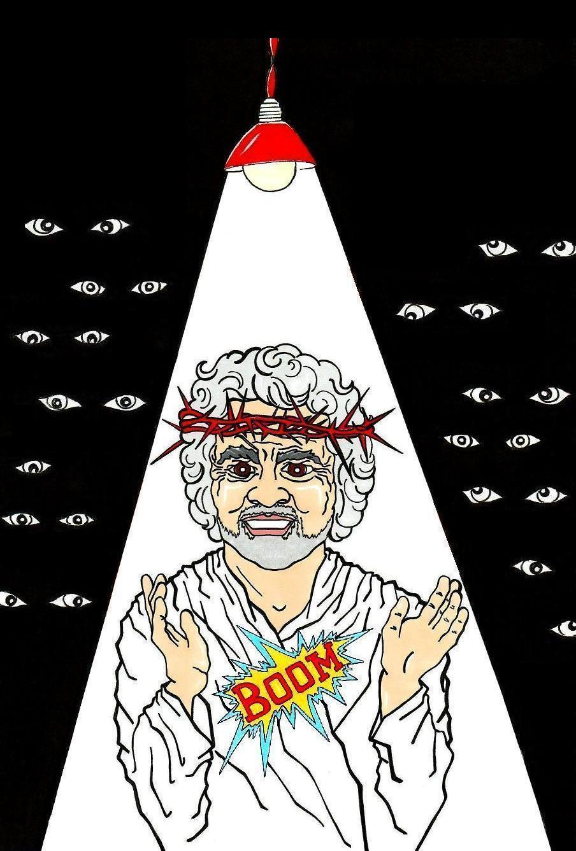 Γελοιογραφία με τον Μπέπε Γκρίλο στο επίκεντρο
